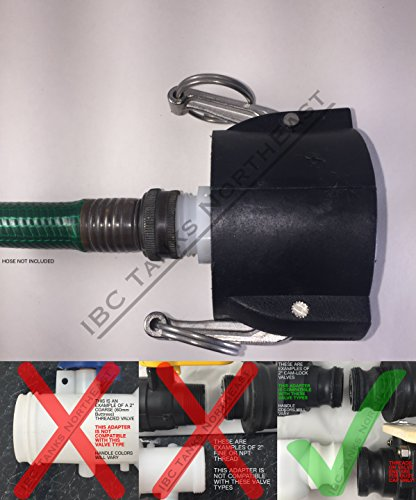 UKC 275/330 IBC FOOD GRADE Tote Drain Adapter 2' Cam-Lock x NYLON Garden Hose Connection