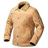 Air Force Military Jacket Men Winter Warm Thick Tactical Bomber Jackets Fur Collar Outerwear Army Pilot Flight Coat Khaki XXL