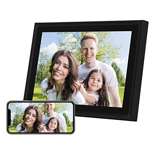 AEEZO WiFi Digitaler Bilderrahmen 10 Zoll Touchscreen FHD 2K Display Smart Fotorahmen mit 16 GB Speicher, einfache Einrichtung zum Teilen von Fotos und Videos, Automatische Drehung (schwarz)