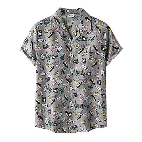 Camisa de verano para hombre, de manga corta, con botones, bolsillo frontal, estilo vintage B gris L
