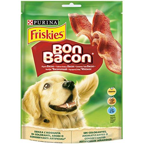 Purina Friskies Bon Bacon Snack Cane Strisce all'Aroma di Bacon, 6 Confezioni da 120 g Ciascuna