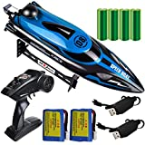 HONGXUNJIE 2.4Ghz RC Boat- 20 mph High Speed Remote Control Boat for Adults and Kids for Lakes and Pools with 2 Rechargeable Batteries, Low Battery Alarm, Capsize Recovery (Blue)