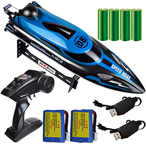 HONGXUNJIE 24Ghz RC Boat 20 MPH High Speed Remote Control Boat for Adults and Kids for Lakes and Pools with 2 Rechargeable Batteries Low Battery Alarm Capsize Recovery Blue