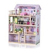 Baby Vivo Maison de Poupée en Bois pour Enfants Maison de Poupée de Chambre Villa résidentielle avec Escaliers Accessoires...