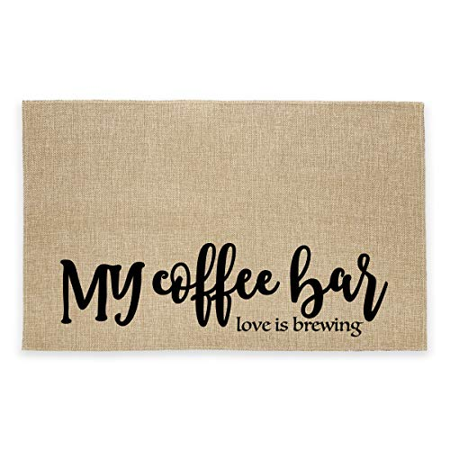 Rustic Burlap Coffee Bar Mat - My Coffee Bar Vintage Placemat Easy to Clean - Natural Jute Coffee Maker Mat for Coffee Bar Home Decor Parties Daily Use