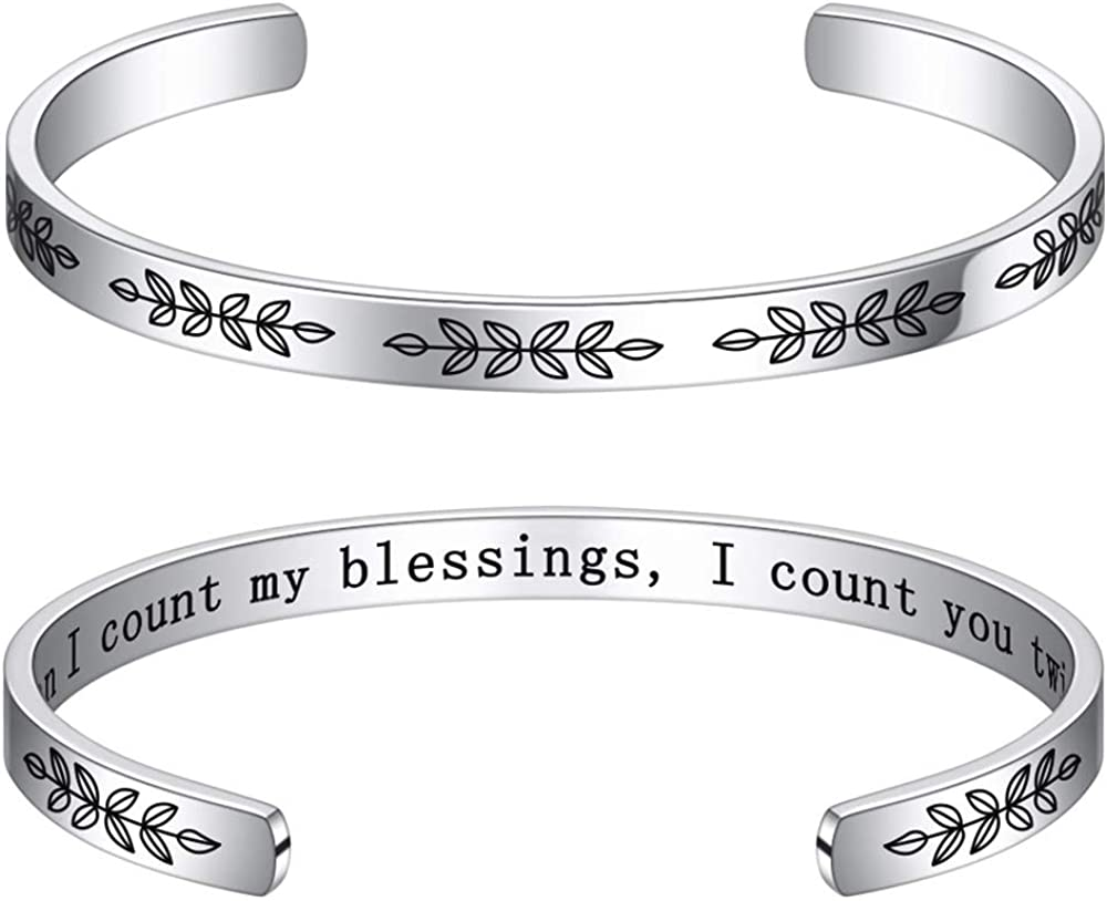 Bracelets for Women Personalized Gifts - Engraved Quote Inspirational Bracelet Birthday Christmas Funny Gifts for Best Friend, Daughter, Son, Sister, Niece, Mom, Coworkers, Stainless Steel Jewelry