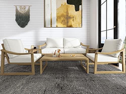 Allewie 4 Pieces Metal Retro Patio Furniture Set Outdoor Conversation Set
