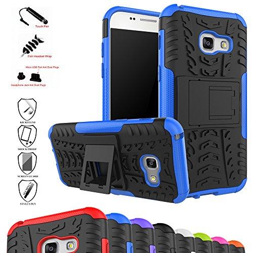 MAMA MOUTH Galaxy A3 2017 Kick-Ständer Hülle, [Heavy Duty] Rugged Armor stoßfest Handy Schutzhülle Silikon Tasche Ständer Hülle Case mit Standfunktion für Samsung Galaxy A3 2017 Smartphone,Blau