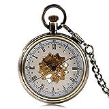SHKUU Reloj Bolsillo Unisex Vintage Flor Hueca Esqueleto Reloj Bolsillo mecánico Clásico Cuerda Manual Bronce Reloj Cobre Números Romanos Regalo Navidad