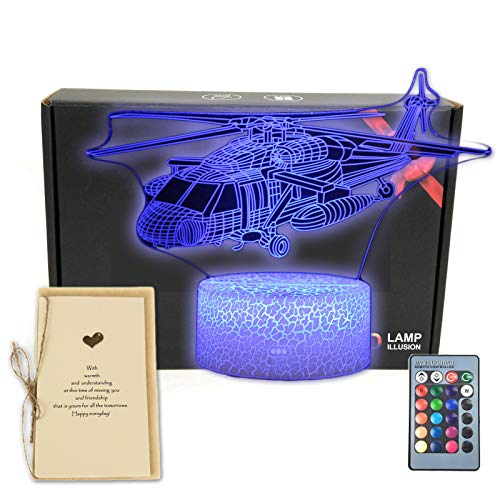 DEAL BEST,Helicopter Plane 3D Illusion Lamp Aircraft Airplane Bedroom Decor Night Light with Greeting Card,16 Colors Touch & Remote Decorations Toys Gifts