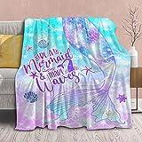 Mermaid Blanket Tail Plush Gift for Girl Women Kid Toddler Fleece Throw-Be a Mermaid Lightweight Fuzzy Sheet Glitter Fish Super Soft Flannel Blankets Teen Bedroom Decor Sofa Chair-40 x30 Extra Small
