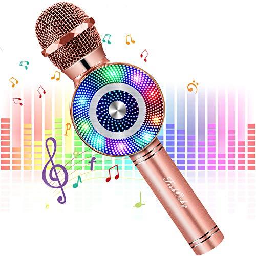FISHOAKY Microfono Bambini, 4 in 1 Wireless Microfono Karaoke Bluetooth con LED Lampada Flash, Portatile Karaoke Player con Altoparlante per Cantare,Compatibile con Android/iOS Smartphone e PC