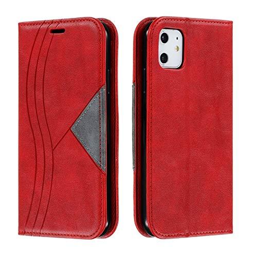 Handyhülle für Schutzhülle, S-Linien-Nahtmuster, Leder-Klappetui, mit Standfunktion, unsichtbarer eingebauter Magnetverschluss, Farbe: Rot