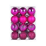 HOUMENGO 24 Weihnachtskugeln Baumschmuck, Christbaumkugeln aus Kunststof, Christbaumschmuck Weihnachten Anhänger Deko modisch Glänzend Bruchsiche Weihnachtskugeln (24 Stück, Pink)