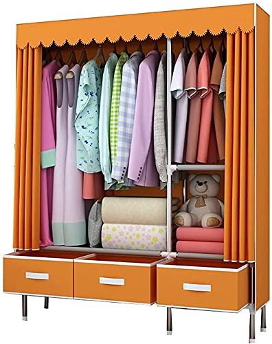Teapots Kombination garderob garderob för att hänga kläder med låda tyg garderob montering utrymme kläder förvaring skåp skåp Liuyu. (Färg: Orange)