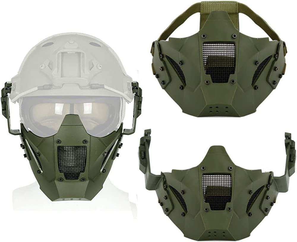 Máscara Protectora Media Cara Militar, Máscaras Tácticas Paintball Airsoft Malla Metálica, con Casco Gafas Traje, para CS Juego De Guerra De Caza Actividad Al Aire Libre,Verde