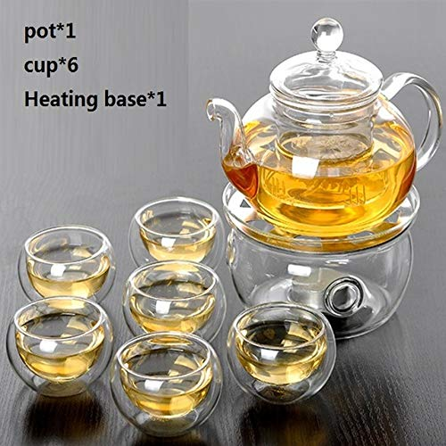 Tetera Tetera de Flores de Vidrio Resistente al Calor, práctico florero, Tetera de Vidrio con infusión, Hojas de té, café Herbal