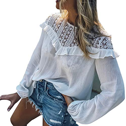 Alikeey Dames herfst winter casual schat Crochet Lace blouse
