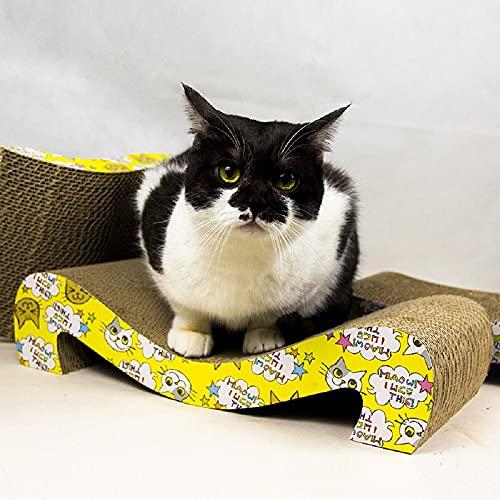 BYE CHOW Almohadilla de rasguño del gato, Tablero del rasguño del gato, Corrugado pequeño arco gato Nido Juguetes Pet Claw Grinder, Rascadores de gato, Cartón
