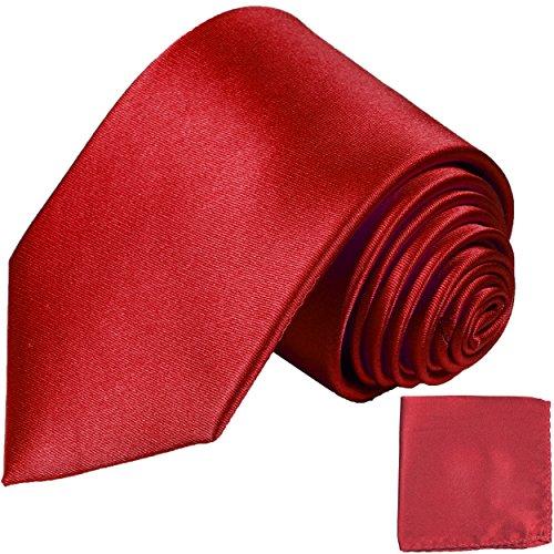 Cravate rouge uni ensemble de cravate 2 Pièces ( 100% Soie Cravate + Mouchoir )