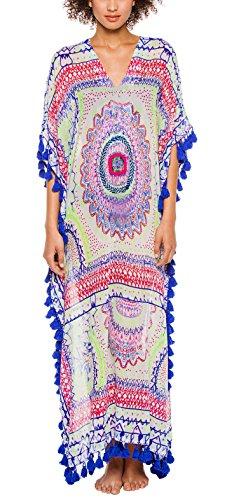 KingsCat Chiffon Long Kaftan Tassel Trim Swimsuit Cover-Up,Blue