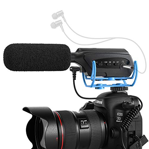 Moukey Micrófono de Cámara de Vigilancia para Sony/Nikon/Canon/videocámara DV, Micrófono Shotgun para Blog y Transmisión en Vivo, MCM-3
