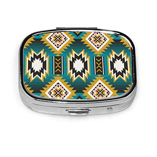 Pill Box - Customized Native American Indian Aztec Geometric Pill Boxes, Portable Rectangular Metal Silver Pills Case, Compact 2 Space, Pill Cases for Travel/Pocket/Purse