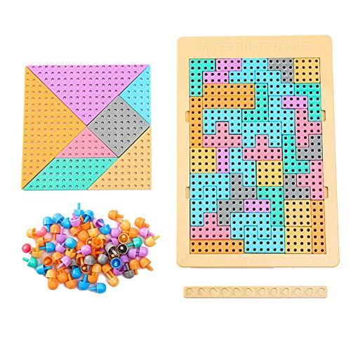 U-A Juguetes educativos para niños Rompecabezas de Escritorio, Regalos de cumpleaños para niños y niñas de más de 3 años de Edad, Tetris Bloques de construcción, Clavos de Setas, tangrams