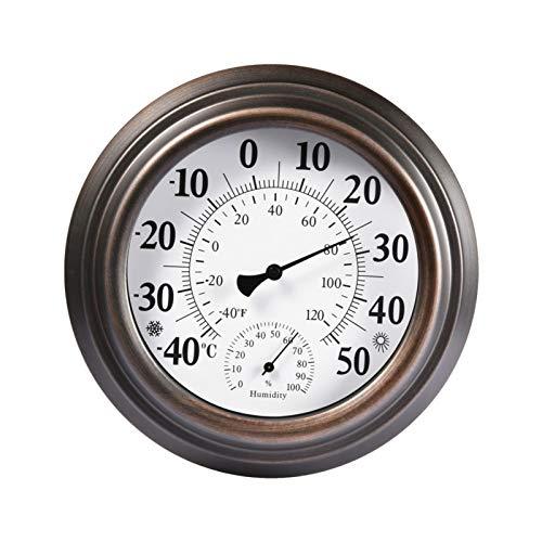Jatour Innenthermometer 20 cm Outdoor-Hygrometer Retro Außenthermometer Antikes Lackiertes Eisenschalen-Temperatur- Und Feuchtigkeitsmessgerät Für Innen Außen