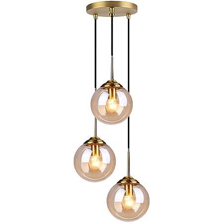 HJXDtech Verre Suspension Luminaire Vintage Industrielle, Plafonnier avec fini en laiton poli Lustre Suspension Lampe de Salle à Manger Cuisine Salon Chambre (Ambré, Ensemble 3 en 1)