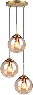 MZStech Industrial Retro Loft 3-drożna lampa wisząca, żyrandol Cluster mocowanie lampy wiszącej, okucia mosiężne z kloszem...