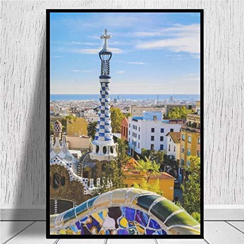 N/A Lienzo Colorido De Barcelona, Impresiones De Moda Abstracta para Mujer, Lienzo Artístico, Pintura, Cuadro De Pared, Decoración Moderna para Sala De Estar Dormitorio Navidad Hogar Decor Regalo