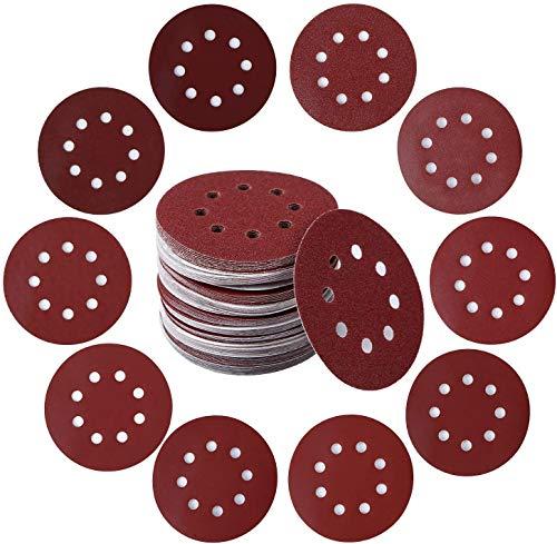 Discos de Lija 100 Piezas Almohadillas para Discos de Lijado 40 60 80 100 120 150 180 240 320 400 125mm 8 Agujeros para Lijadora Excéntrica