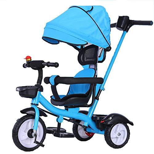 YUMEIGE driewieler kinderen driewieler titanium leeg wiel gewicht 50 kg 1-6 jaar oud verjaardagscadeau kinderwagen trike met luifel (kleur: blauw, geel, grijs)