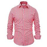Paul JonesMen's Shirt Men's Red Plaid Oktoberfest Dress Shirts Long Sleeve Slim Fit M