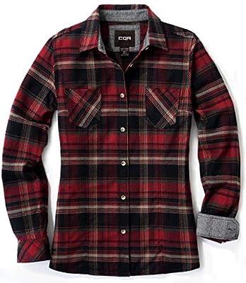 CQR CLSL Women's Plaid Flannel Shirt Long Sleeve, All-Cotton Soft Brushed Casual Button Down Shirts, Unique(wof002) - Maple Crimson, Medium