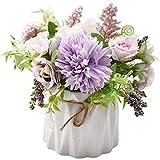 Conjunto de ramo de rosas artificiales, conjunto de rosas púrpuras Jarrón de cerámica Flor de rosas Planta artificial Maceta de flores falsa Maceta de hortensia falsa Decoración de la boda del partido