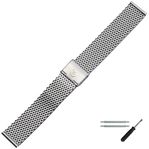 MARBURGER Uhrenarmband 22mm Edelstahl Silber - Werkzeug Montage Set 84907220020