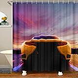 Cortina de ducha moderna de tela deportiva para coche, para deportes extremos, impermeables, para niños, niñas, puesta del sol, carreras, con ganchos, 180 x 200 cm
