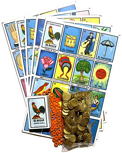 Loteria Mexicana Family Mexican Bingo Game with 100 Plastic Coins, 80 Chips, 20 Jumbo Boards and 1 Playing Cards Deck Bundle