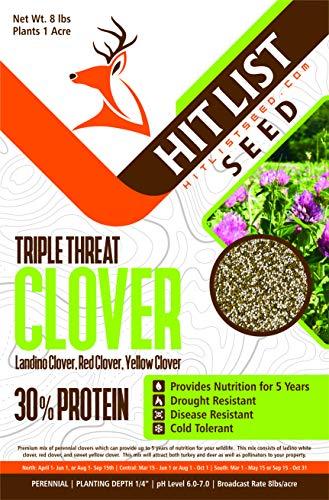 Triple Threat Clover Deer Food Plot Seed, Ladino Clover, Red Clover, Yellow Clover, Food Plot Seeds for White Tail Deer & Turkey (1 Acre (8 lbs))