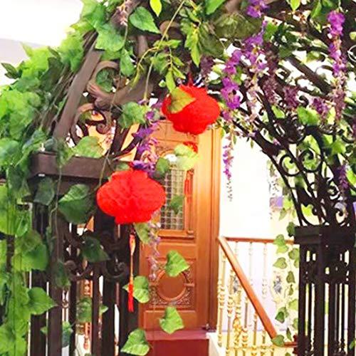 Guodinaba 230cm Artificial Ivy Leaf Garland Plants Plastic Green Long Vine Flower Fake Plant Wedding - Artificial Home Decor Leaves Leaf Garland Artificial Dried Flowers Garland Plant Vi
