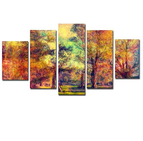 Jwqing Canvas Muurkunst Foto's Keuken Restaurant Decor Abstract Kleurrijke houten HD gedrukt Poster Schilderij (30x40 cm x 2 30x60 cm x 2 30x80 cm Geen lijst)