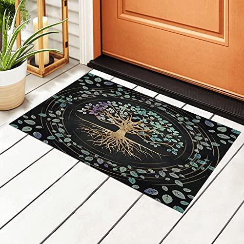 The Tree of Life Door Mat Outdoor Rug Non Slip PVC Doormat Front Indoor Outdoor Doormats PVC Backing/Bathroom/Kitchen/Bedroom/Entryway Floor Mats Carpet