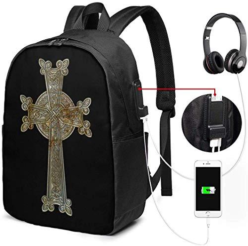 RROOT Root Unisex Rucksack mit USB-Ladeanschluss, Religion-Ikon, armenisches Kreuz, klassisch, für Business, Büchertasche