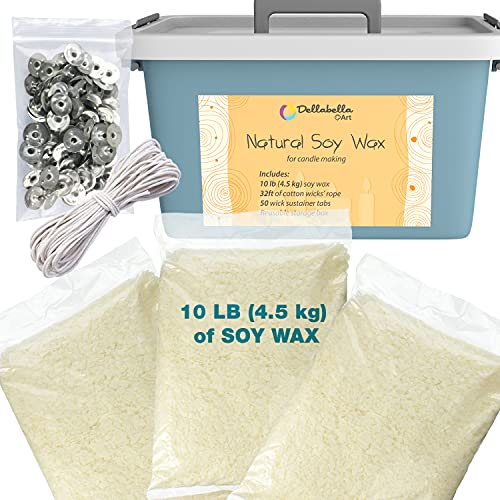 Dellabella Soy Wax for Candle Making – Includes 10 LB Organic Wax Flakes, Cotton Wick Rope & Sustainer Tabs, and Multi Use Storage Box - Compatible with Color Dye & Essential Oil - Safe and Natural