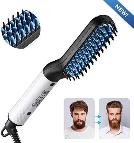 STTA Cepillo alisador, Cuidado de la Barba de Modelado Flexible, Peine de Hierro rizador Antiarrugas, para Todo Tipo de Cabello para Hombres Rizador de Peine de Masaje eléctrico