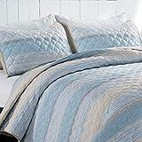 SHALALA NEW YORK Leichtes Steppdecken-Set mit Streifenmuster, gebürstetes Polyester, verblasst & knitterfrei, Tagesdecke, für alle Jahreszeiten (Hellblau, King-Size)