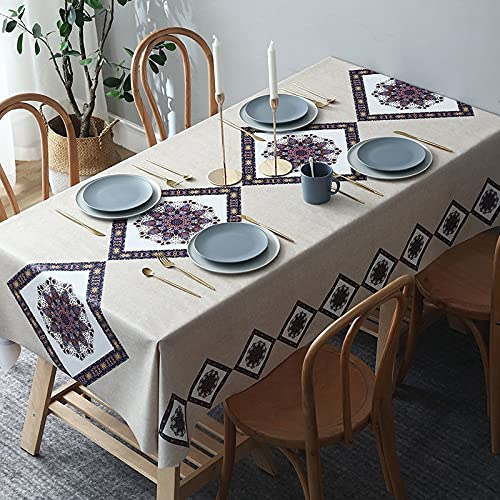 sans_marque Paño de mesa, cubierta de mesa de comedor, fregar mantel rectangular, aceite y agua a prueba de moho y mantel, utilizado para la decoración de mesa de la cocina 135* 135CM