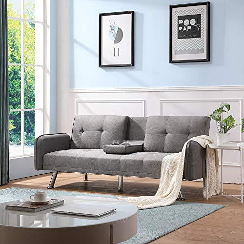 Futon Couch Bed, Sleeper Sofa Best Choice Products Modern Linen Convertible Futon Sofa Bed w/Metal Legs, 2 Cupholders - Light Gray